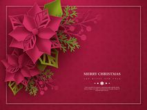 Christmas holiday banner. 3d paper cut style poinsettia with leaves. Purple background with frame and greeting text. Vector illustration stock illustration