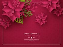 Christmas holiday banner. 3d paper cut style poinsettia with leaves. Purple background with frame and greeting text. Vector illustration royalty free illustration