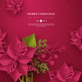 Christmas holiday banner. 3d paper cut style poinsettia with leaves. Purple background with greeting text, vector. Christmas holiday banner. 3d paper cut style vector illustration
