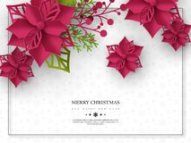 Christmas holiday banner. 3d paper cut style poinsettia with leaves. White background with frame and greeting text. Vector illustration royalty free illustration