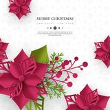 Christmas holiday banner. 3d paper cut style poinsettia with leaves. White background with greeting text, vector. Christmas holiday banner. 3d paper cut style vector illustration