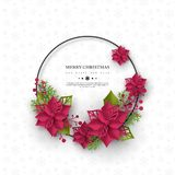 Christmas holiday banner. 3d paper cut style poinsettia with leaves. White background with round frame and greeting text. Vector illustration vector illustration