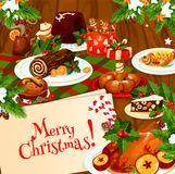 Christmas banner of festive dinner on wooden table. Christmas holiday banner of festive dinner on wooden table. Xmas turkey or chicken, fruit cake and cookie Stock Photography