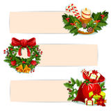 Christmas holiday banner set for festive design. Christmas banner set of Santas gift bag with present and poinsettia flower, christmas tree wreath with holly Stock Photography