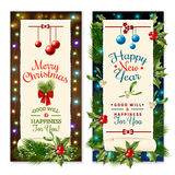 Christmas Holiday Banners. Vertical christmas holiday congratulations banners with mistletoe balls and light effects flat isolated vector illustration Stock Images
