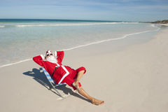 Christmas Holiday Beach Santa Claus I Royalty Free Stock Images