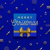 Christmas holiday blue`n`gold design Royalty Free Stock Images