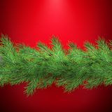 Christmas holiday border with realistic fir tree branches decorations with shadow, on red. EPS 10 stock illustration