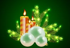 Christmas holiday candles. Vector artistic holiday illustration Stock Image