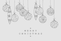 Christmas holiday card background. Collection of xmas decoration in doodle style. Hand drawn balls design.  Stock Photos