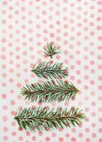 Christmas tree holiday card on dotted background Royalty Free Stock Photos