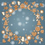 Christmas holiday card with ginger cookies on winter background Stock Photo