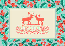 Christmas holiday card. Christmas mistletoe holiday card with text and deers. Happy new year 2016.  Christmas flower frame. Greeting elegant card with Christmas Royalty Free Stock Photos