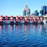 The Christmas holiday celebrated down under in summer in Sydney. SYDNEY, AUSTRALIA - Christmas is celebrated down under in Sydney, Australia, during summer with Stock Images