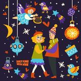 Christmas holiday celebration of couple in love surrounded by items royalty free illustration