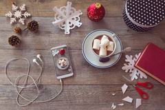 Christmas holiday celebration. Preparing paper snowflakes. View from above with copy space Royalty Free Stock Images