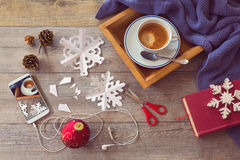 Christmas holiday celebration. Preparing paper snowflakes. View from above. Stock Images