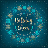 Christmas Holiday Cheer card. Christmas wreath, snowflakes, lettering, winter background. Christmas Holiday Cheer card. Christmas wreath of snowflakes, Xmas gold Royalty Free Stock Photo