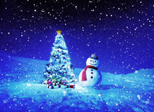 Christmas Holiday Christmas Tree Snowman Decoration Concept Royalty Free Stock Photo