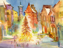 Christmas holiday city center. Watercolor illustration. Royalty Free Stock Images