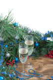 Christmas holiday composition, champaign, pine, ornament decorat Stock Images