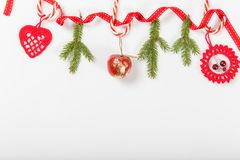 Free Christmas Holiday Composition. Festive Creative Red Pattern, Xmas Handmade Decor Holiday With Ribbon, Christmas Candy Canes, Gift, Stock Photo - 105985320