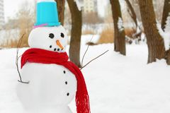 Christmas holiday concept. Funny snowman Royalty Free Stock Photos