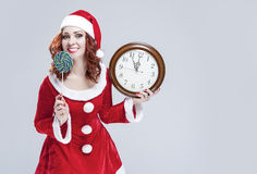 Christmas Holiday Concept and Ideas. Portrait of Gleeful Red-Hai Stock Photo