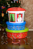 Christmas Holiday Cookie Containers Stock Image