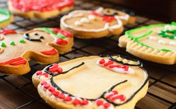 Christmas holiday cookies on cooling rack background stock photography