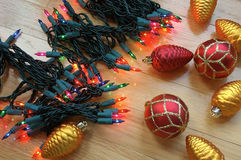 Christmas Holiday Decorating. Christmas tree lights and ornaments ready to decorate for the holiday stock image