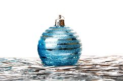 Christmas holiday decoration with blue ball Stock Images