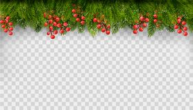 Christmas holiday decoration with branches of tree stock illustration