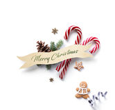Christmas holiday Decoration element; Christmas ornament with fir tree branches and Christmas sweet on white background. Flat lay. Christmas holiday Decoration royalty free stock images