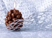 Christmas holiday decoration with festive candle Stock Photo