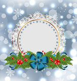 Christmas holiday decoration with greeting card Stock Photos