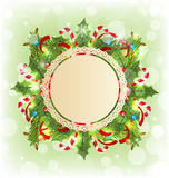 Christmas holiday decoration with greeting card Royalty Free Stock Photography