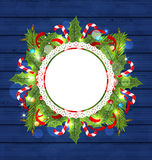 Christmas holiday decoration with greeting card Stock Image