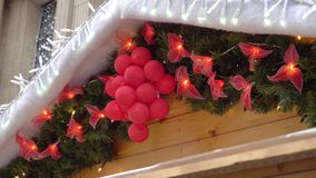 Christmas holiday decoration with lights.  stock footage
