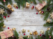 Christmas holiday decoration. On a old wooden background royalty free stock photo