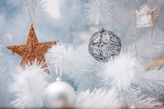 Christmas holiday decoration with ornaments. Christmas holiday decoration with toys and vitage elements, candles, ornaments. A cozzy place at winter. Magic all stock photo