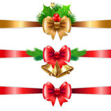 Christmas holiday decoration with red and gold ribbons. Royalty Free Stock Photo