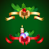 Christmas holiday decoration with red and gold ribbons. Royalty Free Stock Photography
