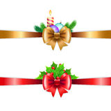 Christmas holiday decoration with red and gold ribbons. Royalty Free Stock Photos