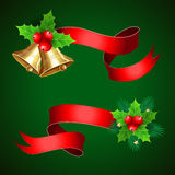 Christmas holiday decoration with red ribbons. Stock Photos
