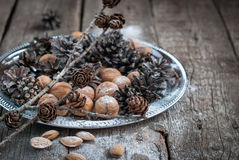 Christmas holiday decoration. Tray with Pine cones and Nuts Stock Photo