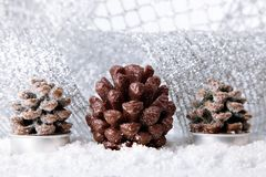Christmas holiday decoration with white snow Stock Photos
