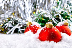 Christmas holiday decoration with white snow Royalty Free Stock Images