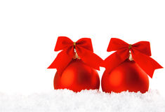 Christmas holiday decoration with white snow Royalty Free Stock Photography