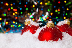 Christmas holiday decoration with white snow Royalty Free Stock Image